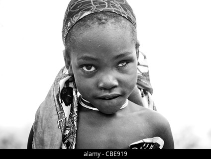 Young One Eyed Mukubal Girl, Virie Area, Angola - Stock Image