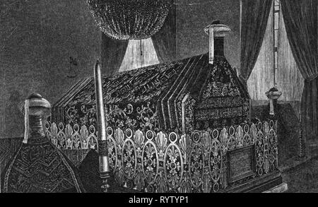 religion, Islam, tombs of the prophet Muhammad and the caliphs Abu Bakr and Umar, Prophet's Mosque, Medina, wood engraving, 19th century, Additional-Rights-Clearance-Info-Not-Available - Stock Image