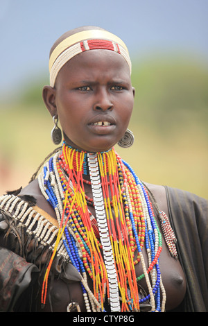 Young Hamar girl, in the Omo valley in Ethiopia, Africa - Stock Image