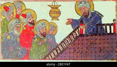 The Prophet Muhammad preaching his final sermon to his earliest converts, on Mount Ararat near Mecca; taken from a medieval-era manuscript of the astronomical treatise 'The Remaining Signs of Past Centuries' by the Persian scholar al-Biruni; currently housed in the collection of Edinburgh University Library, Scotland.  Representations of the Prophet Muhammad are controversial, and generally forbidden in Sunni Islam (especially Hanafiyya, Wahabi, Salafiyya). Shia Islam and some other branches of Sunni Islam (Hanbali, Maliki, Shafi'i) are generally more tolerant of such representational images, - Stock Image