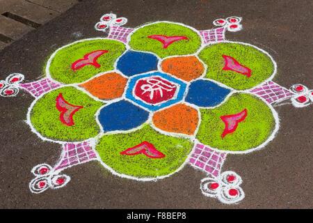 Rangoli pattern Mala Fontainhas Panjim Goa India - Stock Image