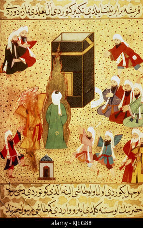 Muhammad assault by the pagan Abu-Jahl. Miniature from the Siyer-i Nebi, Turkish epic about the life of Muhammad. - Stock Image