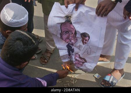 Demonstration by Bangladesh Anjumane Talamije Islamia against the state-backed caricature exposition of the Prophet Muhammad (PBUH) and religious defamations in France. Sylhet, Bangladesh. - Stock Image