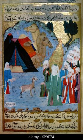 Muhammad hears the crying of a fawn. Life of the Prophet. Ottoman period. Illuminator: Sayyid Suleyman Qasim Pasha. - Stock Image