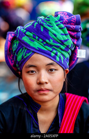 A Portrait Of A Young Woman From The Pa'O Ethnic Group At The Kakku Pagoda Festival, Yaunggyi, Myanmar. - Stock Image