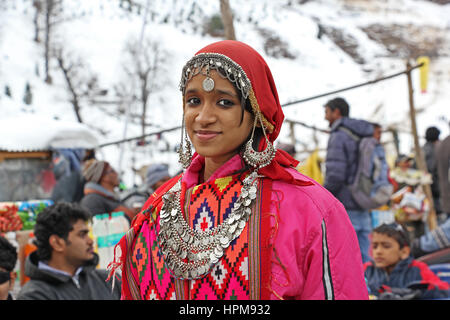 Beautiful teen girl dressed in the traditional tribal attire, pattoo, of Kullu valley in the Himalayan mountain - Stock Image
