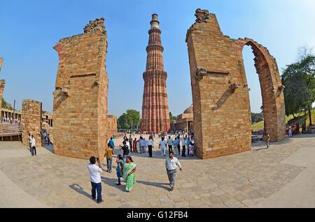 Qutub Minar, New Delhi, taken with Fisheye lens - Stock Image