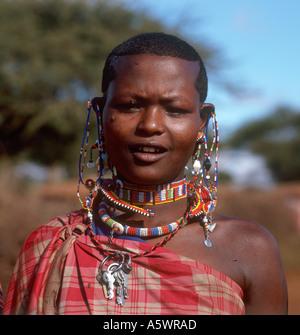 Young Masai Girl, Amboseli Reserve, Kajiado, Kenya - Stock Image