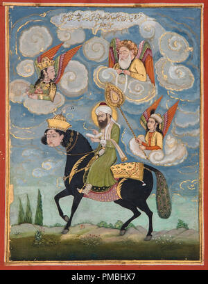 Portrait of the Prophet Muhammad riding the buraq steed. Date/Period: 18th century. Painting. Gouache, gold leaf on paper. Height: 177 mm (6.96 in); Width: 109 mm (4.29 in). Author: UNKNOWN. - Stock Image