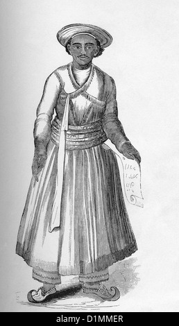This 1855 illustration shows Mohammedan, or follower of the prophet Muhammad, of Bengal of high rank in full dress. - Stock Image