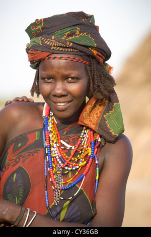 Young girl of the Erbore tribe, Omo River Valley, Ethiopia - Stock Image