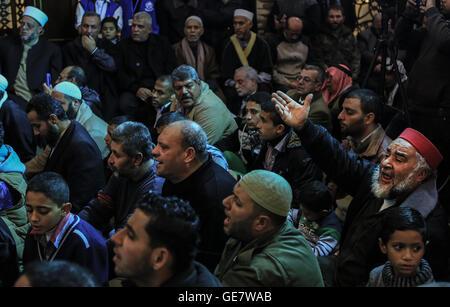 January 7, 2016 - Gaza City, The Gaza Strip, Palestine - Palestinian Muslim Sufis celebrating Prophet' Muhammad - Stock Image