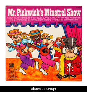 A Childrens Vinyl record called Mr. Pickwick's Minstrel Show on a white background - Stock Image