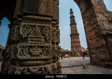 Qutub Minar, a brick minaret. The tower is located in the Mehrauli area of Delhi, India - Stock Image