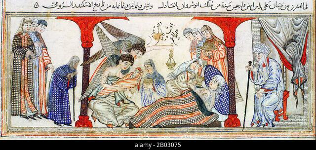 Birth of the Prophet Muhammad. Miniature illustration on vellum from the book Jami' at-Tawarikh (literally 'Compendium of Chronicles' but often referred to as 'The Universal History or History of the World'), by Rashid al-Din, Tabriz, Persia, 1307 CE, now in the collection of the Edinburgh University Library, Scotland.  Representations of the Prophet Muhammad are controversial, and generally forbidden in Sunni Islam (especially Hanafiyya, Wahabi, Salafiyya). Shia Islam and some other branches of Sunni Islam (Hanbali, Maliki, Shafi'i) are generally more tolerant of such representational images, - Stock Image
