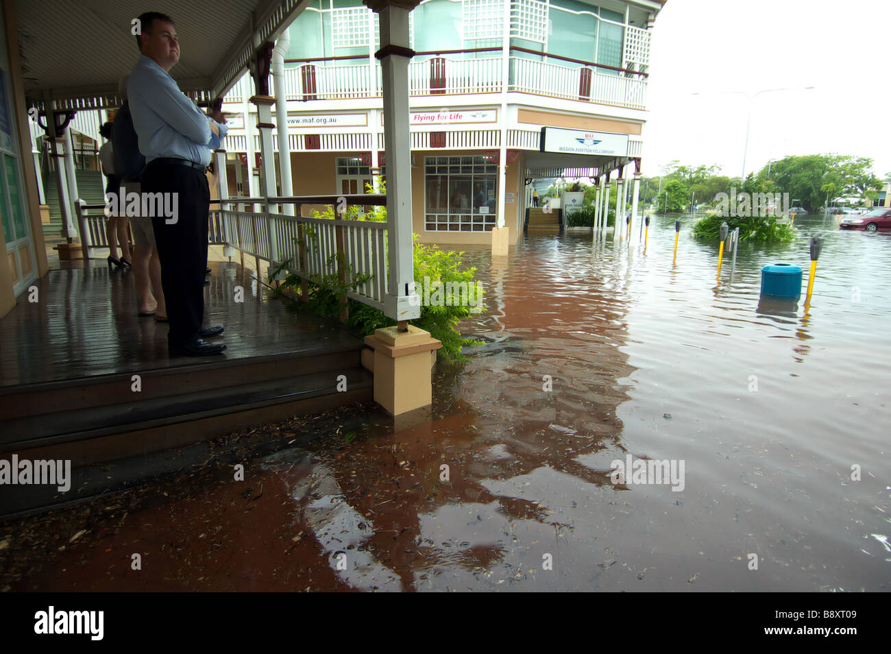 Business grinds to a halt with flooding in the Cairns CBD, Queensland, Australia Stock Photo