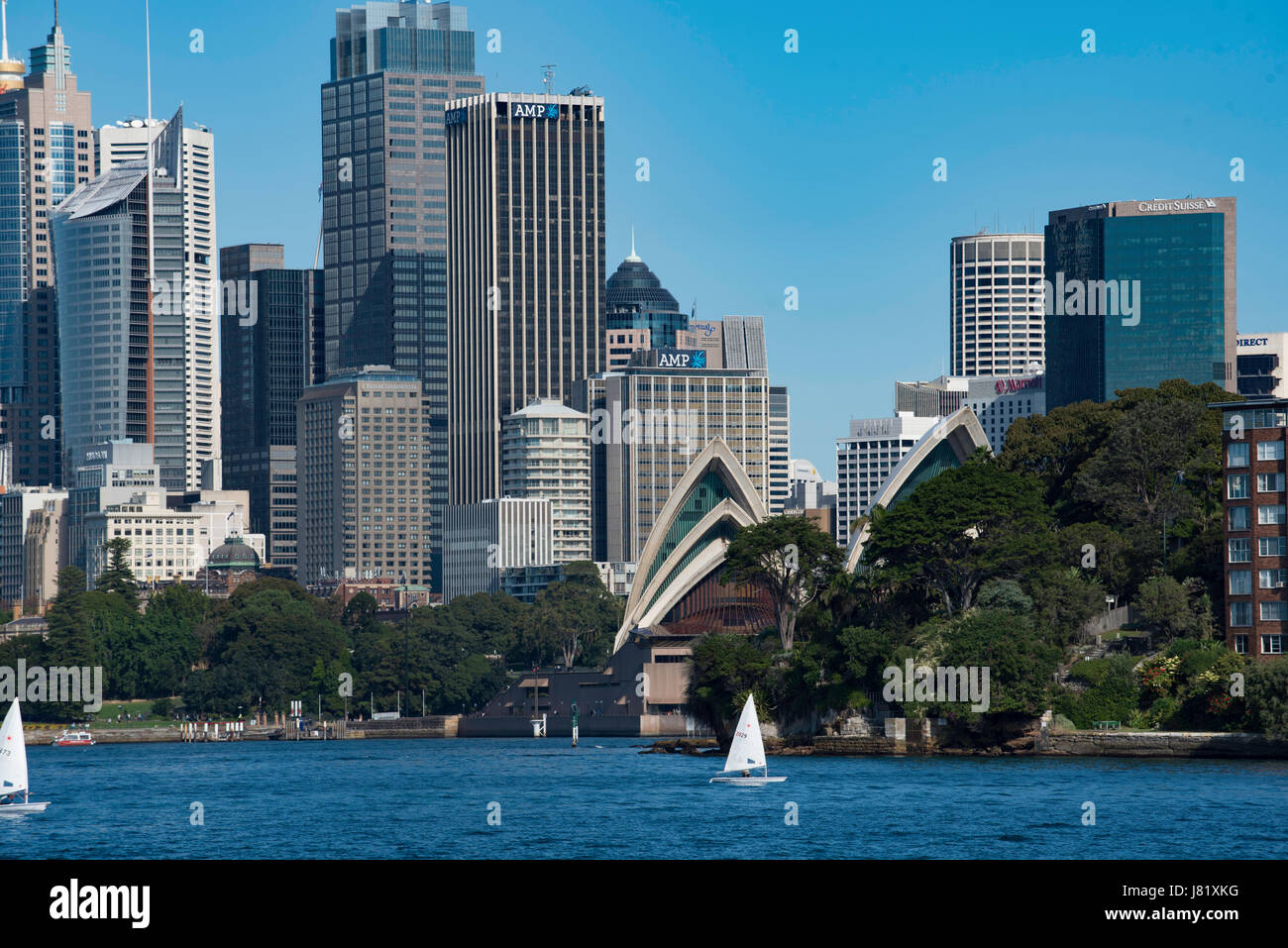 Sydney CBD and the Sydney Opera House from Kurraba Point on the northern side of the harbour Stock Photo