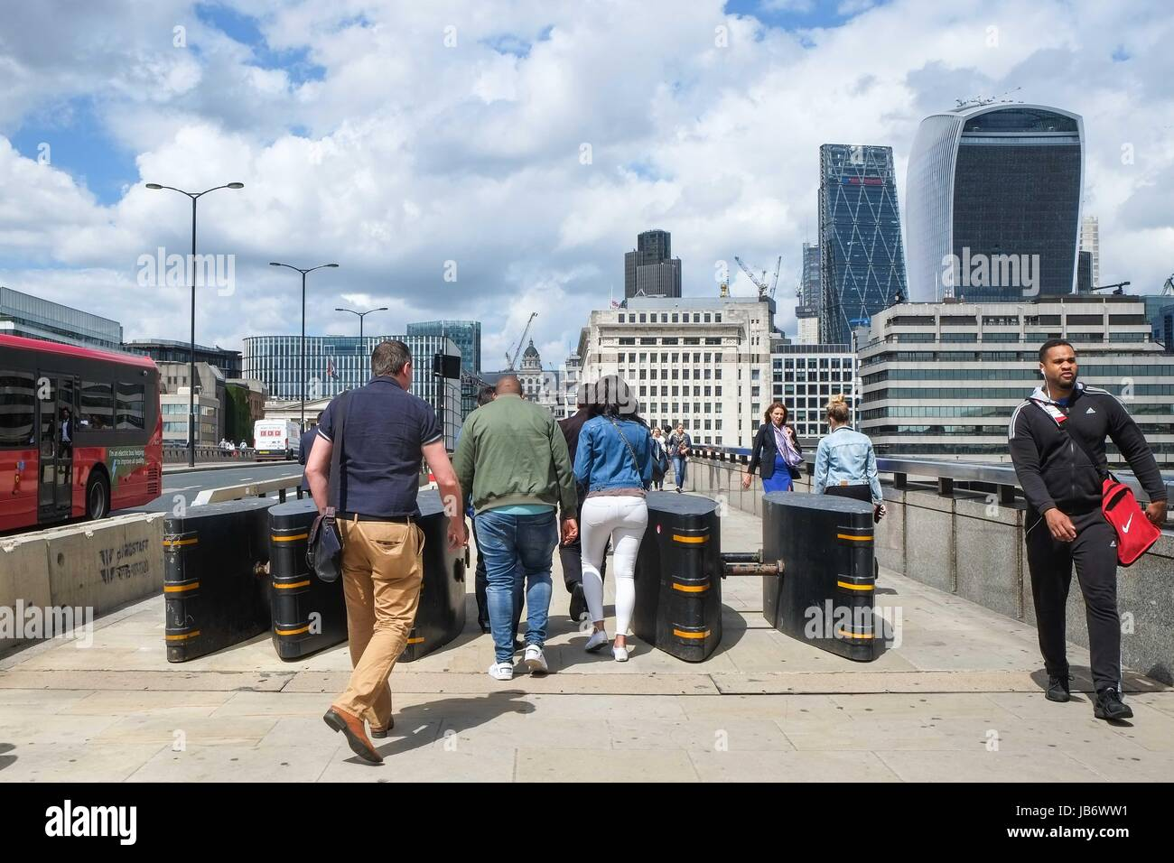 London: 9th June 2017. Security bollards installed on London Bridge after the terror attack on 3rd June that killed Stock Photo