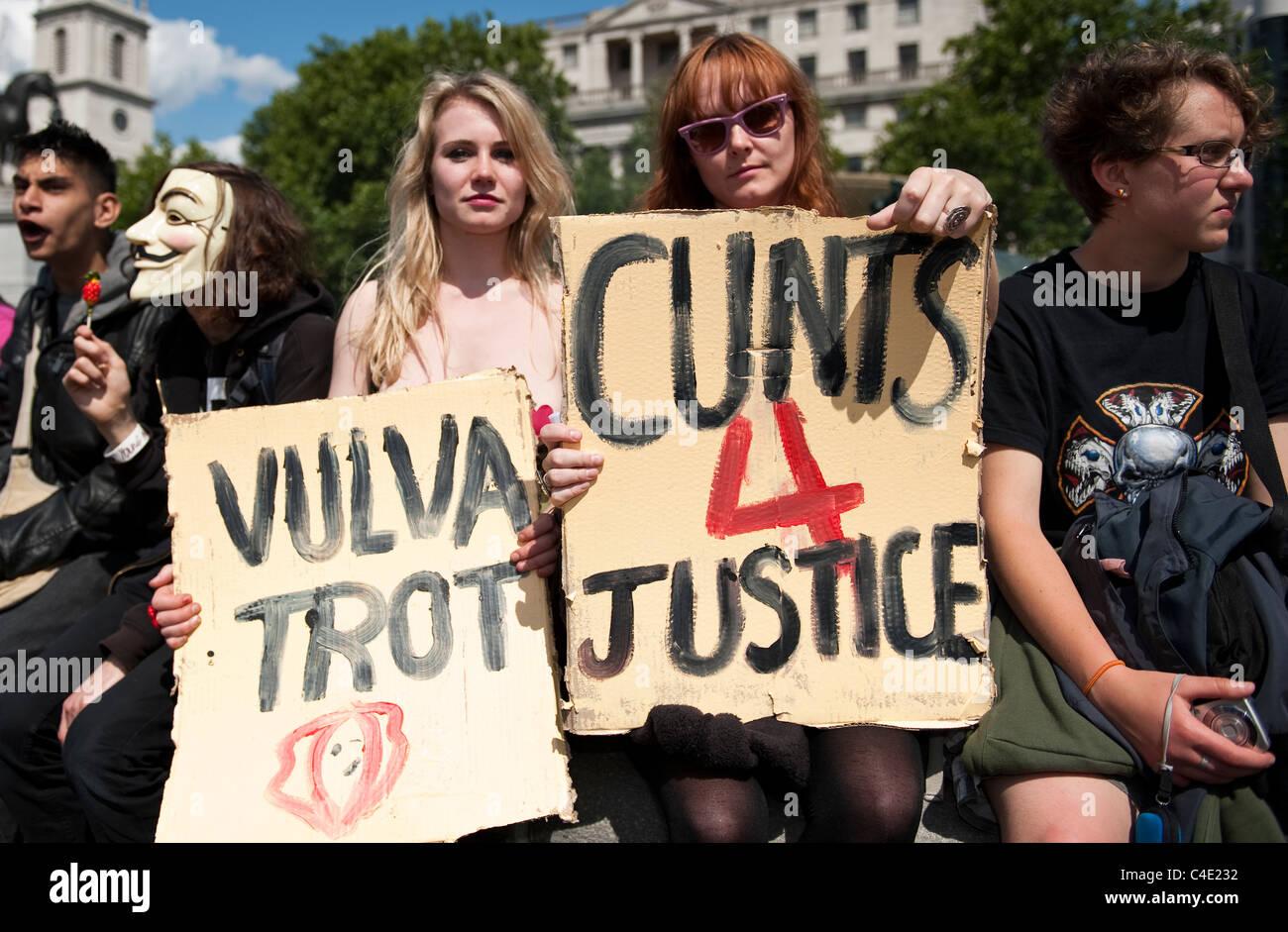 Slut walk, demo, London UK. Demo against rape crime in London. Stock Photo
