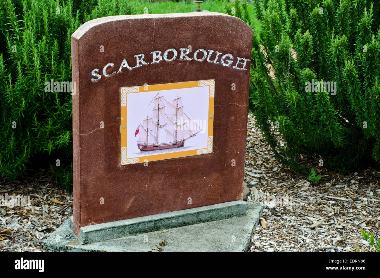 First Fleet; Australia; 1788; Memorial Gardens; Wallabadah; NSW; New South Wales;  transport Scarborough; Stock Photo