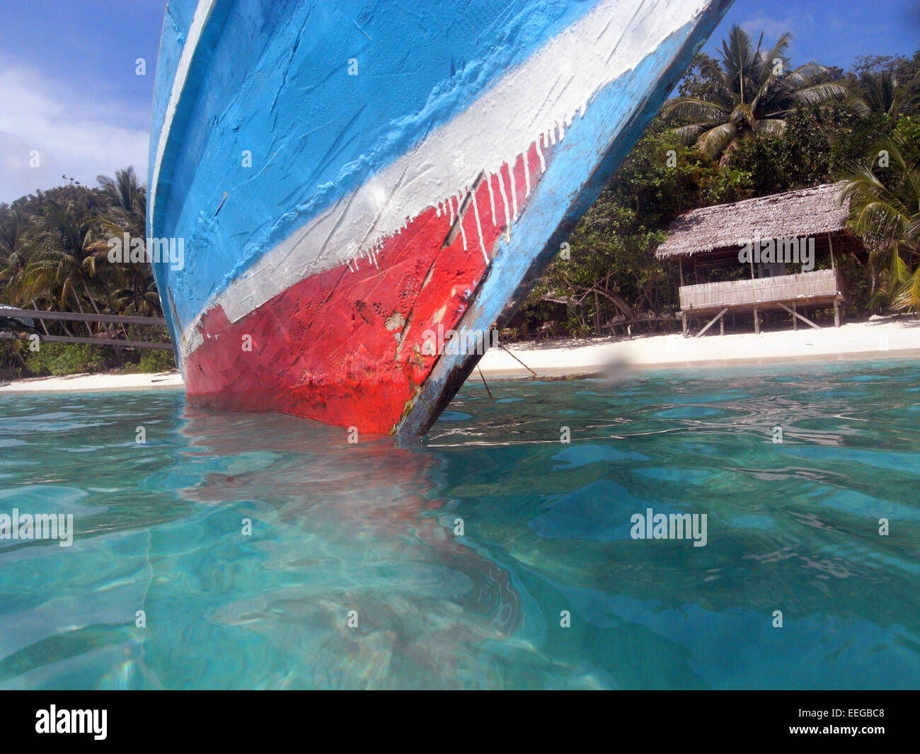 Bow of traditional wooden prahu moored near Gam Island, Raja Ampat, Papua province, Indonesia. No PR Stock Photo