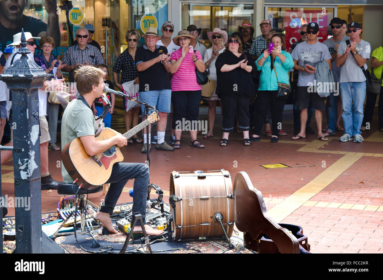 Mitch King Busking Championship winner at Tamworth Country Music Festival January 2016 Stock Photo