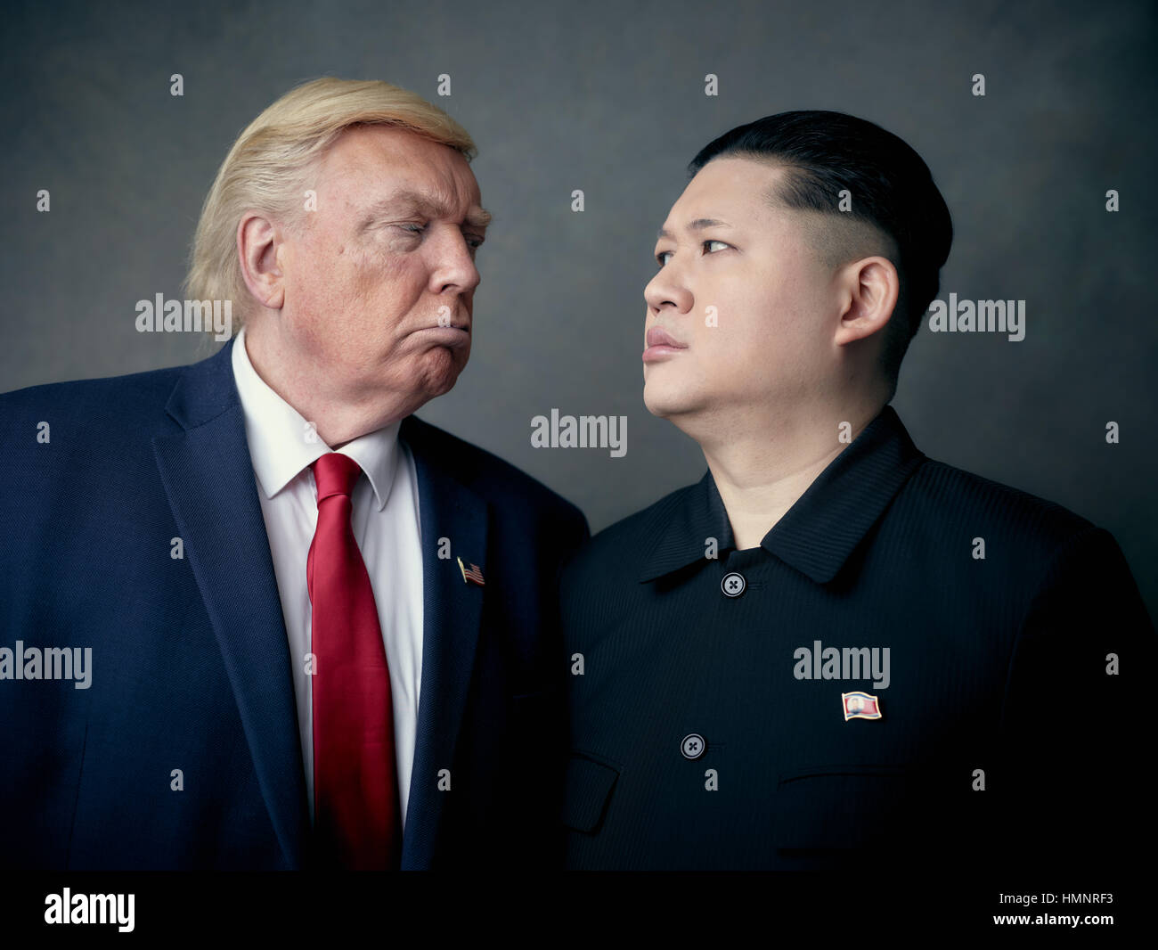 President Donald Trump lookalike and Supreme Leader of North Korea Kim Jong-Un lookalike portrait shoot.  An unlikely Stock Photo