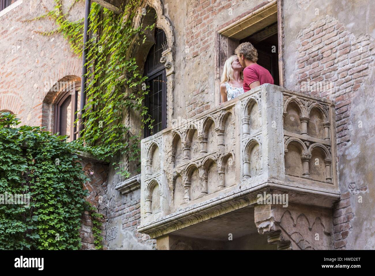 Italy, Veneto, Verona, listed as World Heritage by UNESCO, Juliet's house and Romeo's balcony Stock Photo
