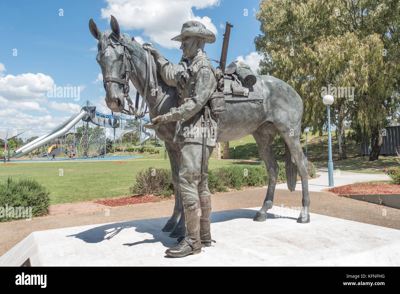 A Memorial to the Australian Light Horse, the Troopers and their Waler horses most famously used in the Light Horse Stock Photo