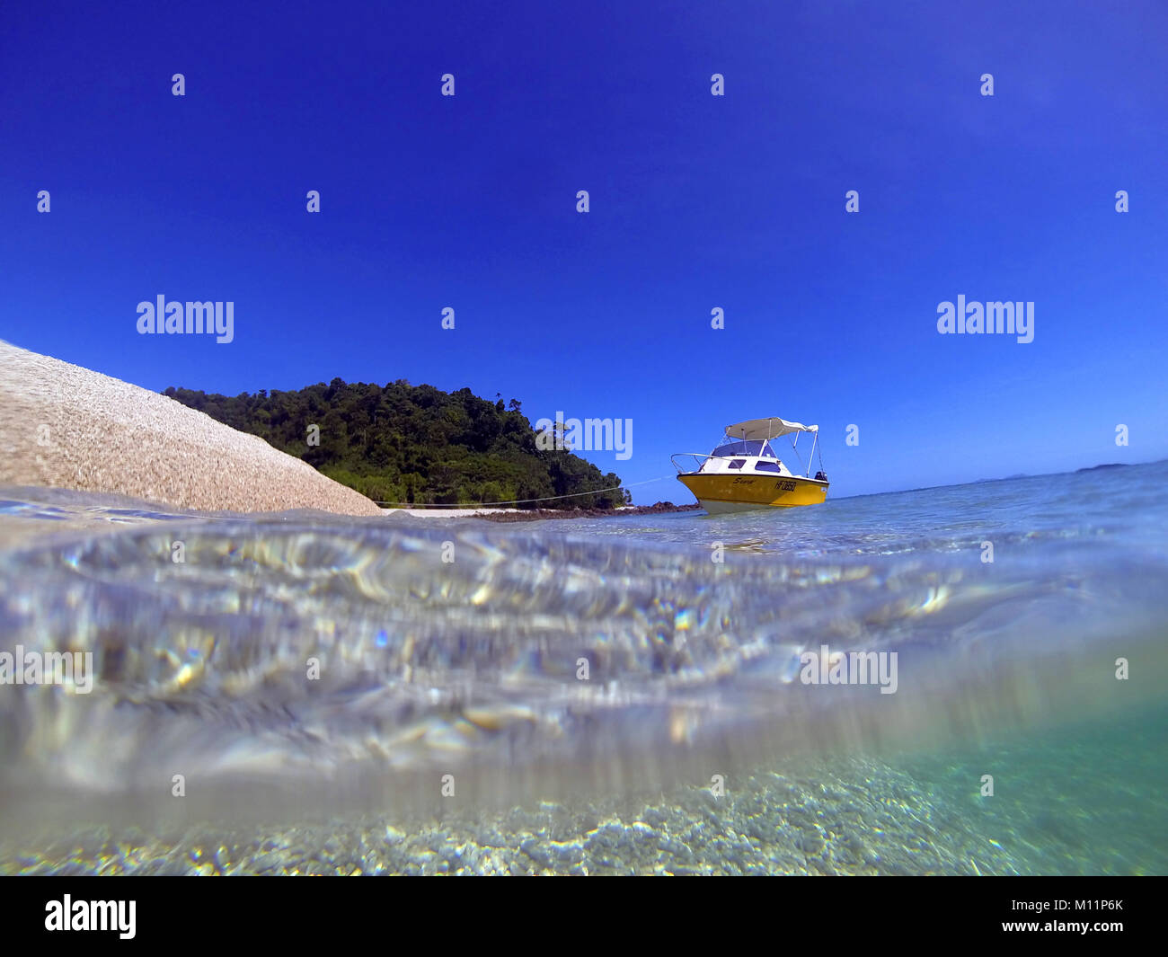 Boat at Kent Island, Barnard Island Group, near Mourilyan, Queensland, Australia. No PR Stock Photo