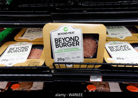 Package of Beyond Meat plant-based Beyond Burger patties for sale in a grocery store in Vancouver, BC, Canada - Stock Image