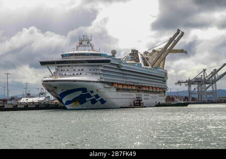 The Grand Princess Cruise ship prepares to leave the port Oakland California after all passengers have diisembarked - Stock Image