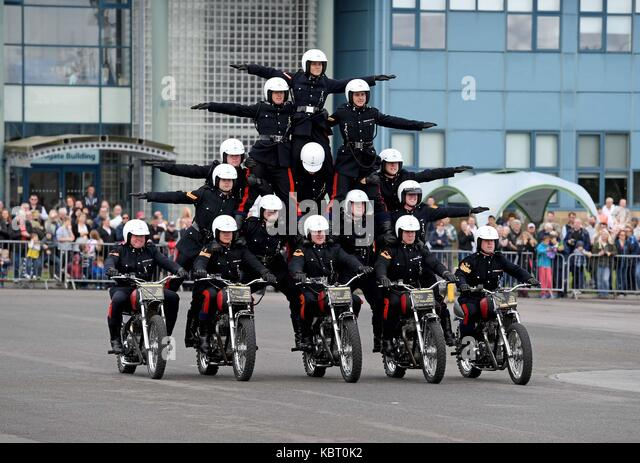 White Helmets motorcycle display team, Blandford Camp, Dorset, UK, 30th September, 2017. Royal Signals White Helmets - Stock Image