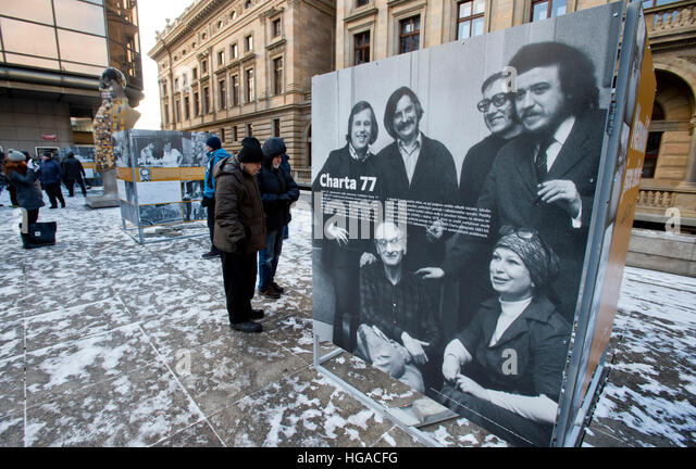 Prague, Czech Republic. 06th Jan, 2017. The exhibition on People of Charter 77 (Charter 77 anti-communist movement), - Stock Image