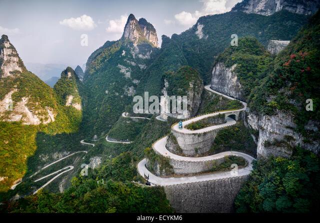 Serpentine road at Tianmen Mountain National Park, Zhangjiajie, Hunan, China 2014 - Stock Image