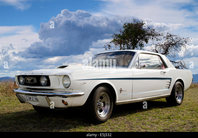 White Ford Mustang - Stock Image