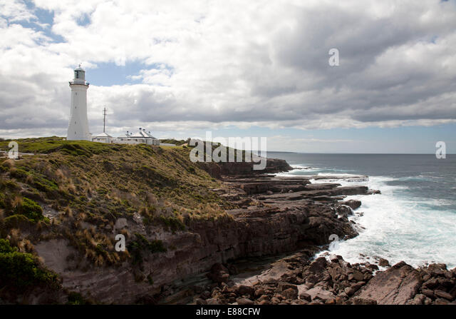 Green Cape Lighthouse and Cottages Ben Boyd National Park South Coast NSW Australia - Stock Image