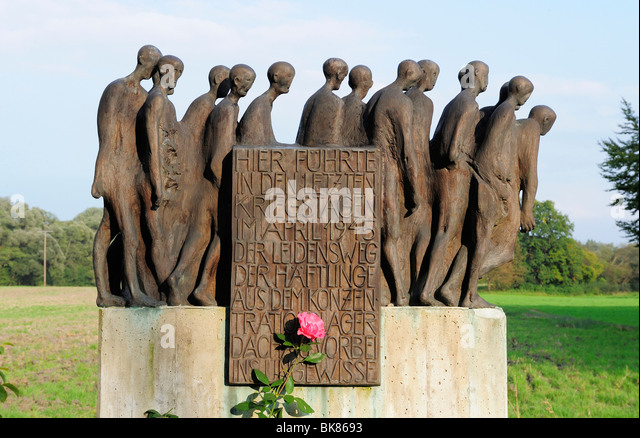 Memorial to commemorate the death march of the concentration camp prisoners of Dachau in 1945, Achmuehle, Bad Toelz - Stock Image
