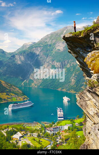 Cruise Ships in Geiranger Fjord, Norway - Stock Image