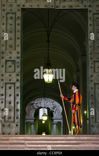 Swiss guard Vatican Rome Italy - Stock Image